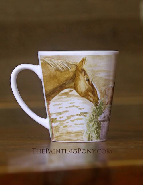 Morning Hay Watercolor Equestrian Latte Coffee Mug