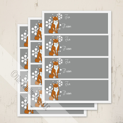 Snow Fox Holiday Gift Tags
