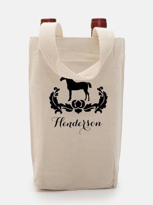 Elegant Horse Personalized Equestrian Wine Tote