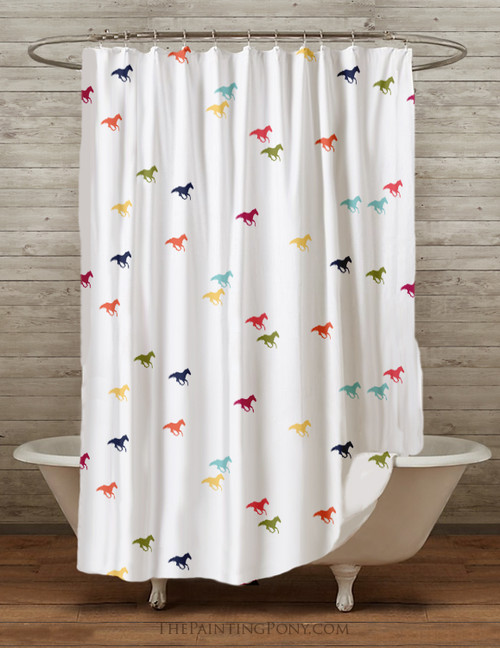Racing Horses Equestrian Shower Curtain