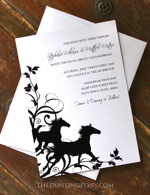 Galloping Horses Wedding Invitation (10 pk) (other colors available)