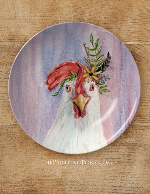 "Colorful Bohemian White Chicken Art 10"" Dinner Plate"