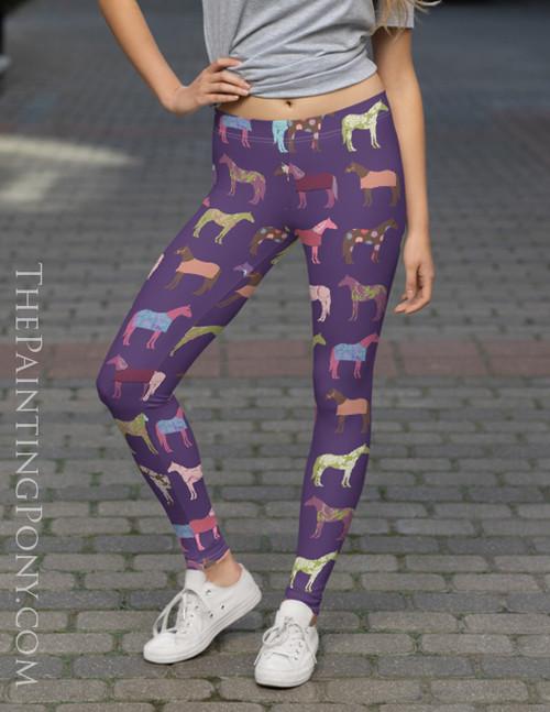 Fun Horse Pattern Purple Equestrian Leggings