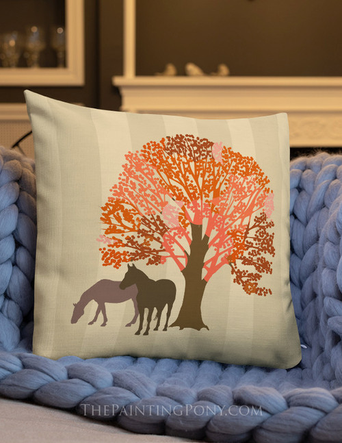 Autumn Horses Equestrian Throw Pillow