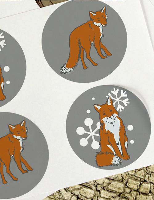 Winter Snow Fox Stickers
