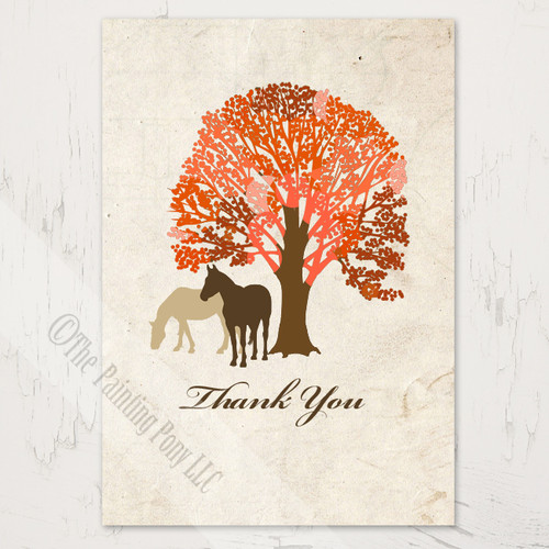 Autumn Horses Wedding Thank You Notes