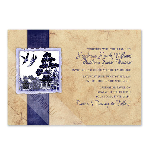 Asian Garden Love Birds Wedding Invite