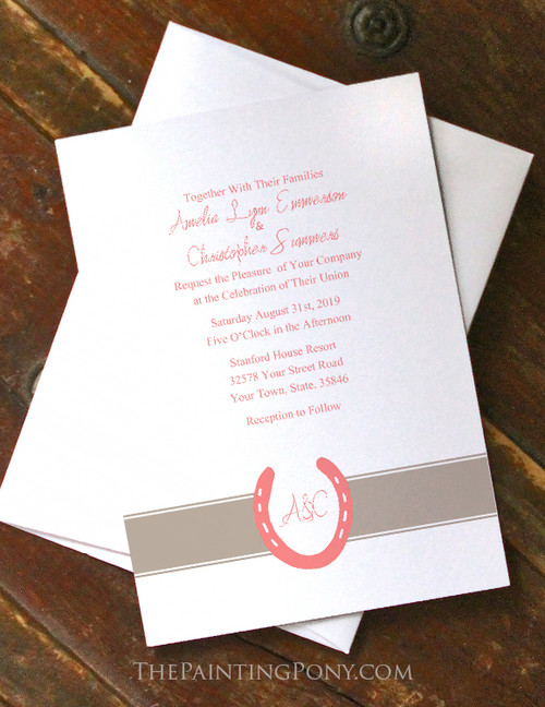 Lucky In Love Horse Shoes Wedding Invitation (10 pk) (other colors available)