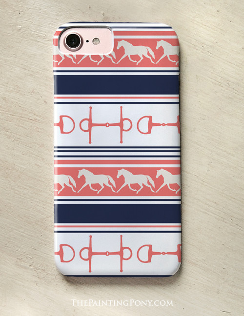 Trotting Ponies and Bits Striped Phone Case