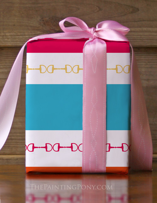 Modern Horse Bits and Stripes Equestrian Birthday Gift Wrapping Paper