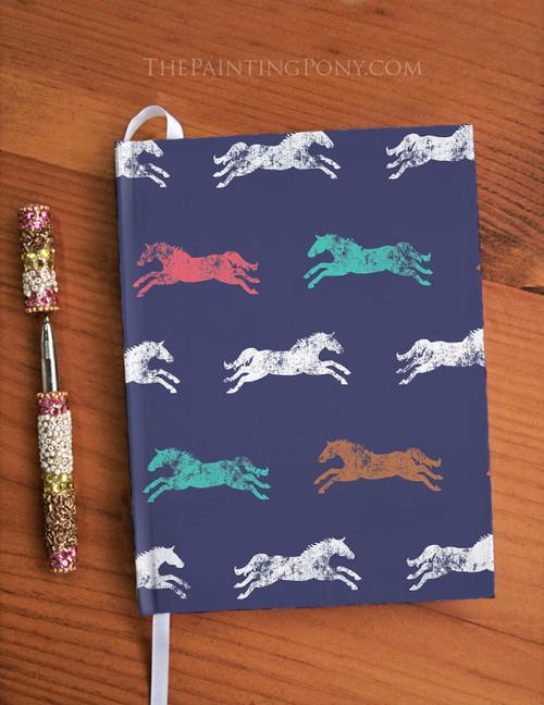 Classic Galloping Horse Equestrian Designer Hardbound Journal