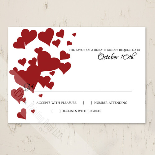 Red Heart Clusters Wedding RSVP card (10 pk)