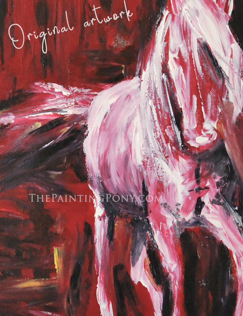 White Horse - Original Arcylic on Canvas Abstract Equestrian Painting 11x14