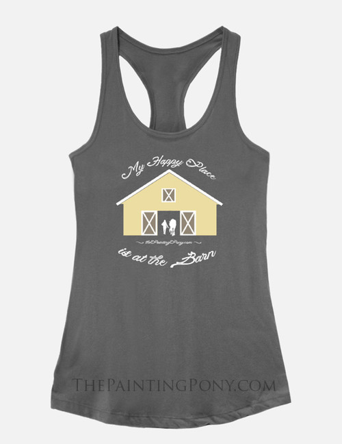 My Happy Place is at The Barn Equestrian Racerback Tank Top