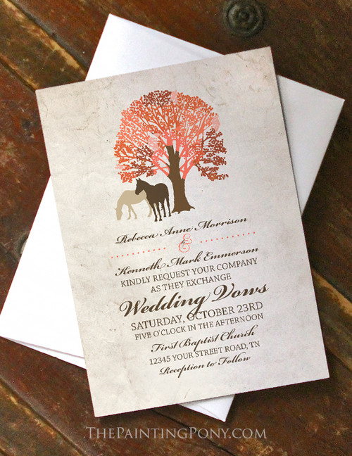 Autumn Horses Wedding Invitation (10 pk) (other colors available)