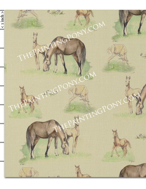 Mare and Horse Foals Patterned Fabric by the Yard