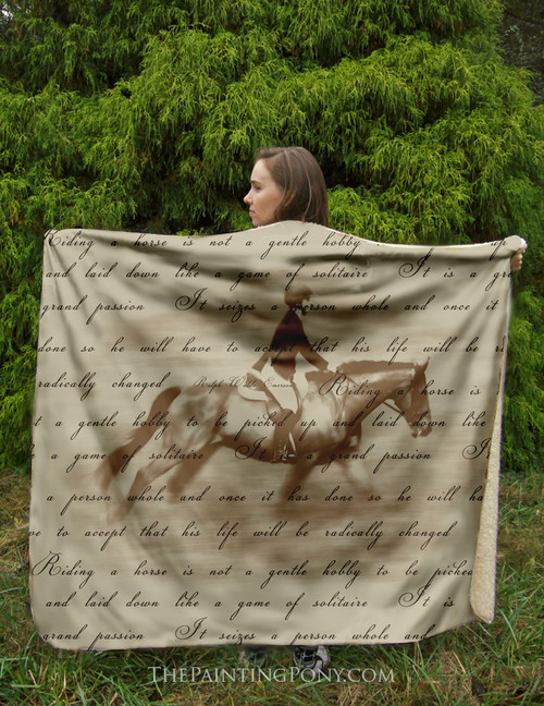 Riding is a Grand Passion Horse Fleece Throw Blanket