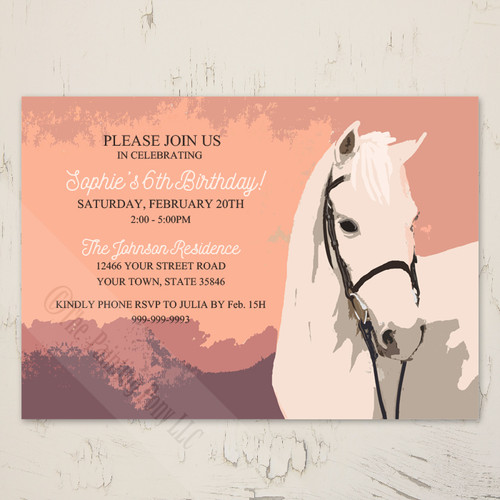 white pony equestrian birthday party invites