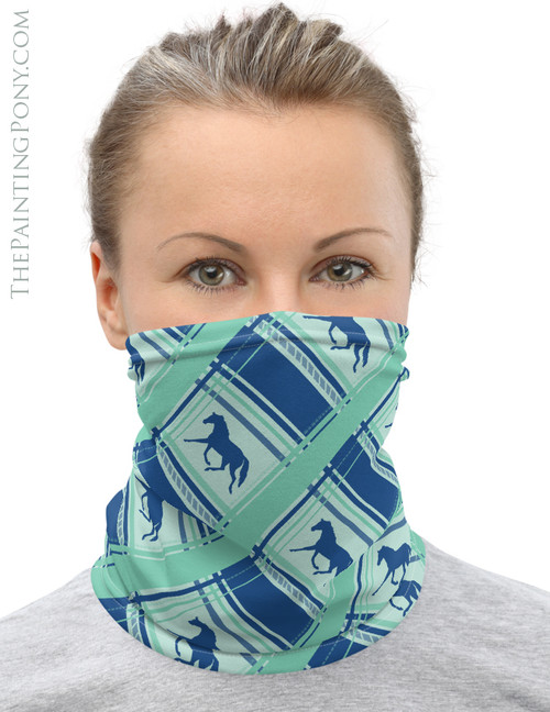 Trotting Horse Plaid Pattern Equestrian Neck Gaiter