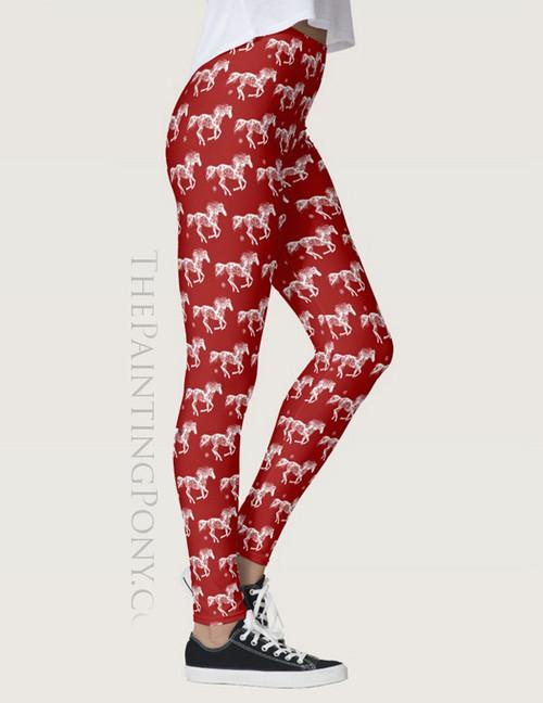 Snowflake Horse Equestrian Christmas Leggings