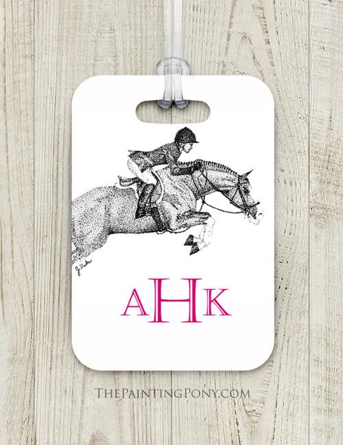 Jumping Horse Monogram Custom Equestrian Luggage Tag