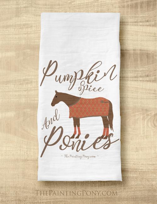 Fall Pumpkin Spice and Ponies Tea Towel
