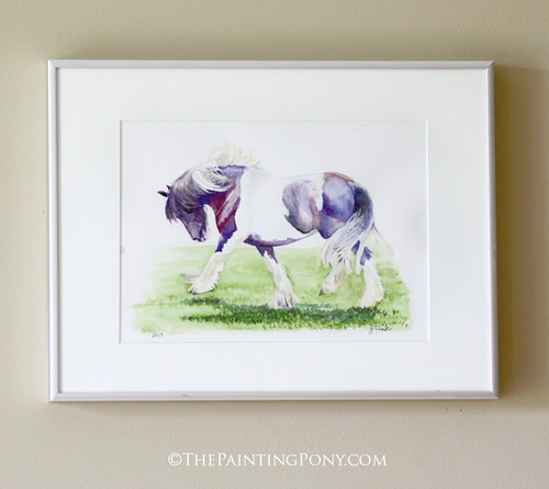 """Original """"Feathers"""" Gygpsy Vanner Equestrian Watercolor Painting"""