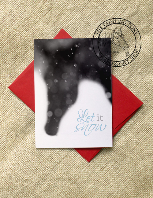 Black and White Snowy Horse Head Holiday Cards (10 pk)