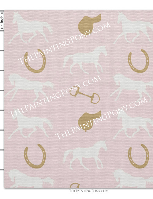 Pink and White Horse and Saddle Equestrian Fabric by the Yard