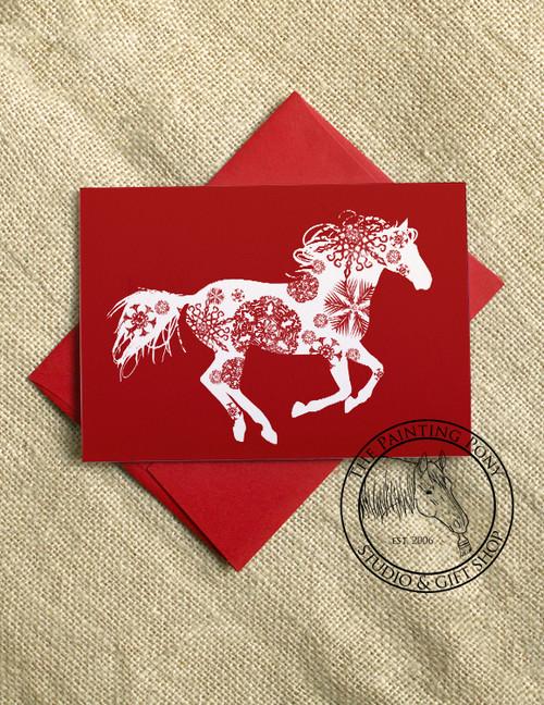 Snowflake Horse Christmas Cards (10 pk)