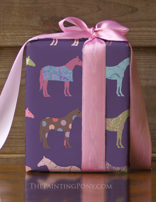 Colorful Horse Pattern Birthday Party Pony Gift Wrapping Paper