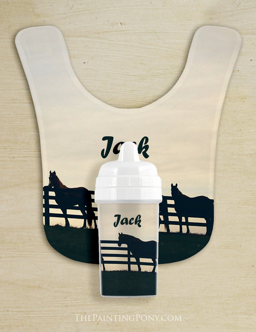 Horses At The Fence Country Baby Bib & Sippy Cup Set