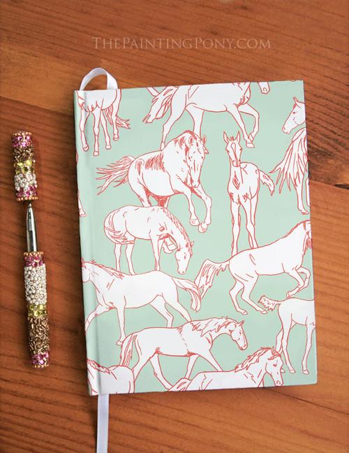 Horses All Over Equestrian Designer Hardbound Journal
