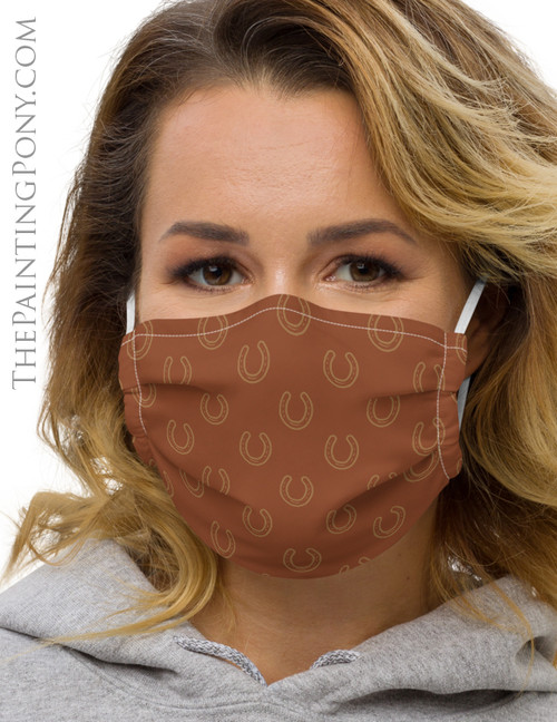 Classic Horse Shoe Pattern Equestrian Face Mask Coverlet