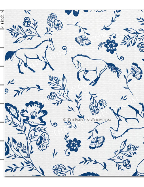 Blue and White Galloping Horse Floral Pattern Equestrian Fabric by the Yard