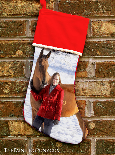 Personalized Your Own Horse Photo Equestrian Christmas Stocking