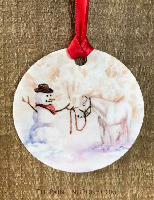 Cowboy Snowman with White Pony Christmas Ornament