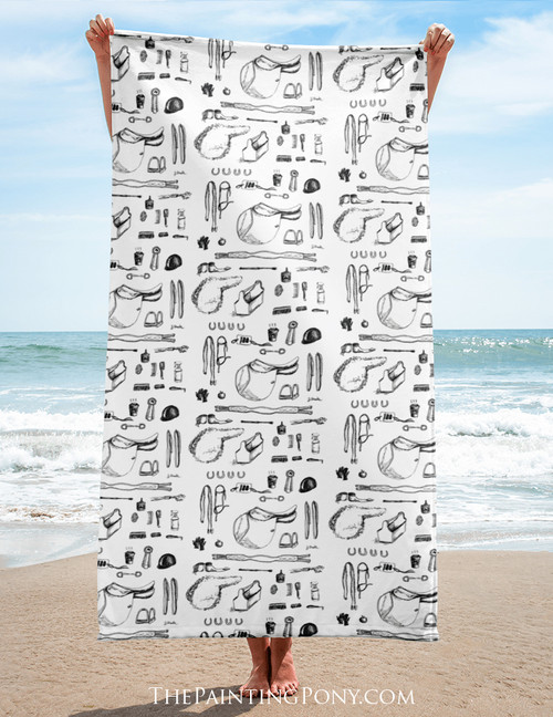 Horse Show Essentials Beach Towel