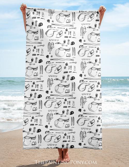 Horse Show Essentials Beach Towel