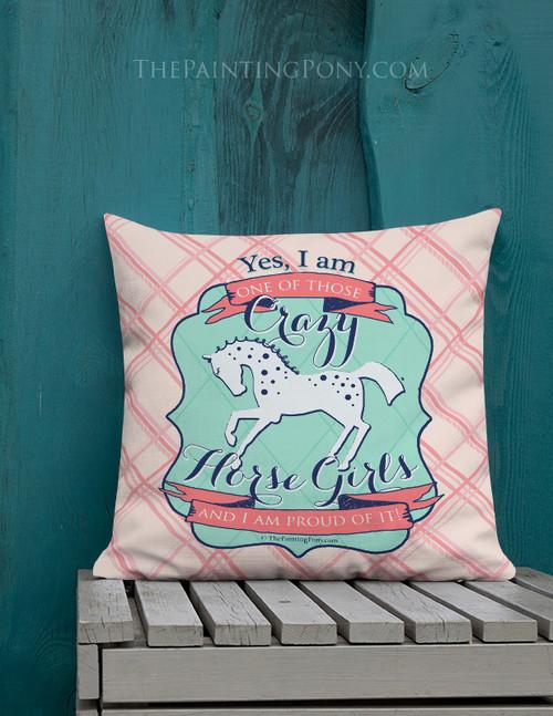 Crazy Horse Girl Equestrian Throw Pillow