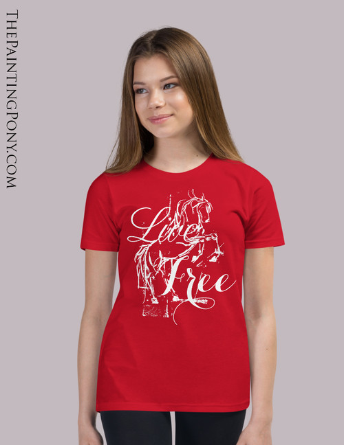 Live Free Rearing Wild Horse Youth T-Shirt