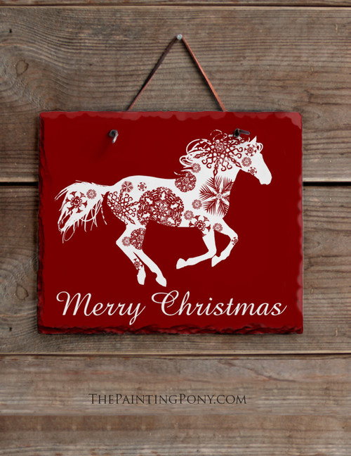Snowflake Horse Christmas Slate Wall Sign