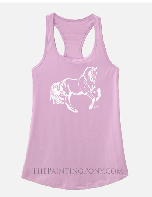 Cantering Horse Graphic Equestrian Racerback Tank Top