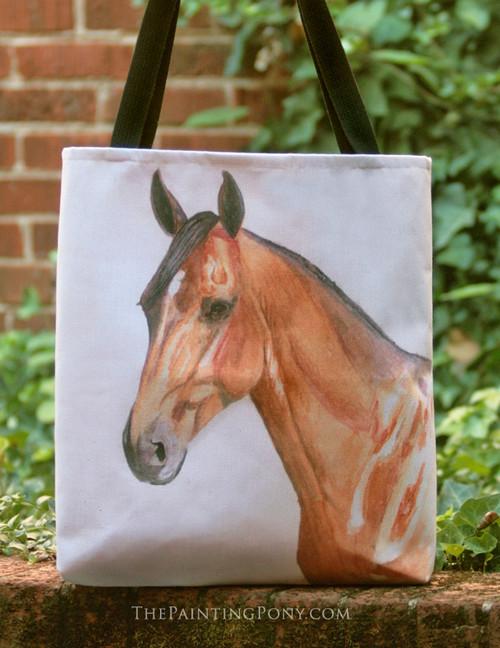 Bay Horse Head Equestrian Tote Bag