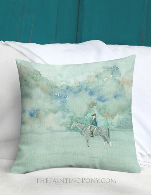 Dappled Gray Horse in the Fog Art Equestrian Throw Pillow
