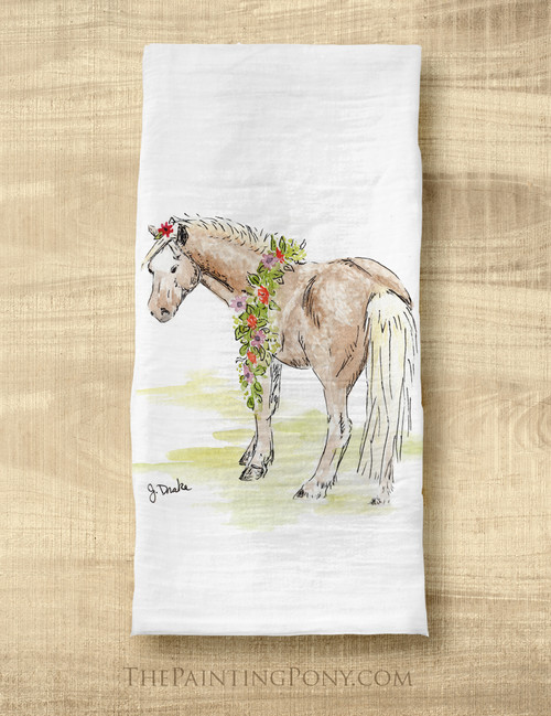Whimsical Pony Flour Sack Tea Towel