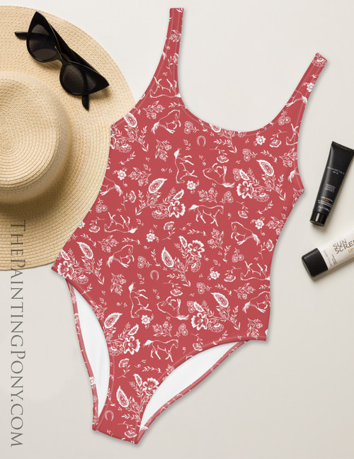 Country Floral Horse Pattern Equestrian Swim Suit