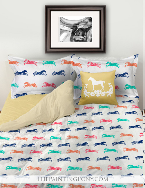 Colorful Galloping Horse Pattern Bedding Set