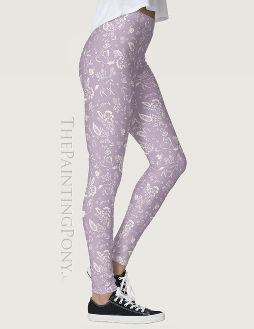 Country Floral Horses Pattern Equestrian Leggings