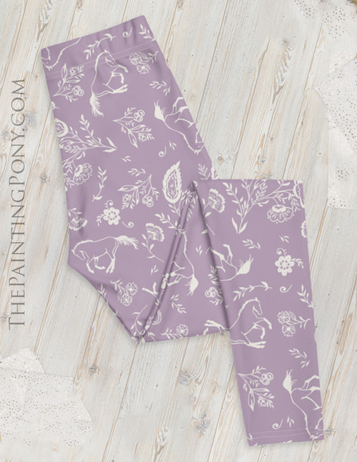 Country Floral Horses Pattern Equestrian Leggings (More Colors Available)
